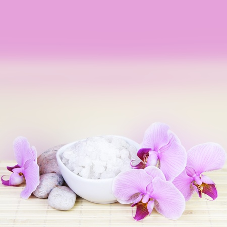 Spa Still Life with Pink Orchids Space for Text Square