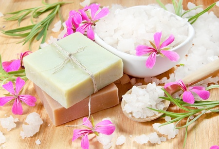 Spa Herbal Soap and Scented Sea Salt with Flowers