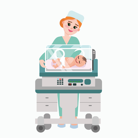Illustration pour Vector illustration of pediatrician doctor with baby. Nurse examining newborn kid inside incubator box. Child care clinic in flat style. - image libre de droit