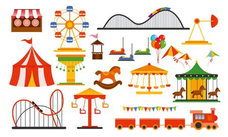 Ilustración de Vector illustration amusement park elements on white background. Family rest in rides park with colorful ferris wheel, carousel, circus in flat style. - Imagen libre de derechos