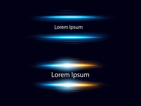 Illustration pour Vector illustration set of realistic blue lens flares on dark background with place for text - image libre de droit