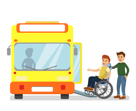 Illustration for Vector illustration of man helping disabled man in a wheelchair com into the bus in bus station in flat cartoon style. - Royalty Free Image