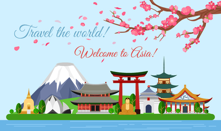 Vector illustration travel concept of Asia traveling, poster with famous Asian buildings, attractions, mountain, ancient temple, pagoda, Buddha, sakura. Discover new places.