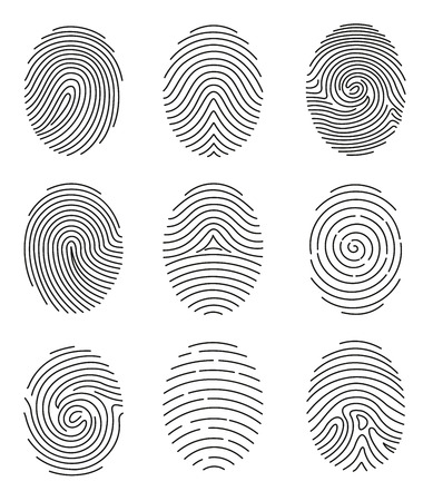 Ilustración de A Vector illustration set of different shape fingerprint in line style on white background. - Imagen libre de derechos