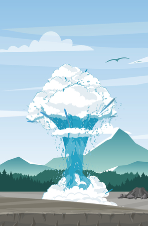 Illustration for Vector illustration of geyser on mountains background. Beautiful mountain view with geyser in flat cartoon style. Travel concept - Royalty Free Image