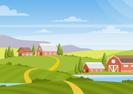 Illustration pour Vector illustration of beautiful countryside landscape with fields, dawn, green hills, farm, houses, trees, bright color blue sky, background in flat cartoon style - image libre de droit