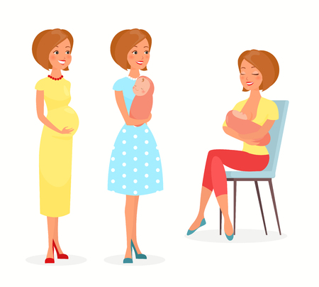 Illustration pour Vector illustration of pregnant woman, woman with a baby and breastfeeding. Mother with a baby, feeds baby with breast. Happy motherhood concept in flat cartoon style. Young mother - image libre de droit