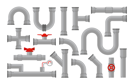 Illustration pour Vector illustration of pipes, types for water collection. Steel and plastic connectors, pipes in grey color with red valves in flat style isolated on white background - image libre de droit