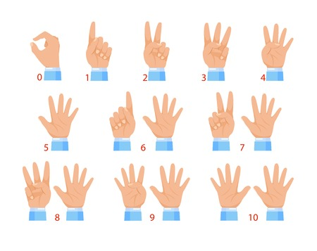 Illustration pour Vector illustration of hands and numbers by fingers. Human hand and number gesture isolated on white background. - image libre de droit