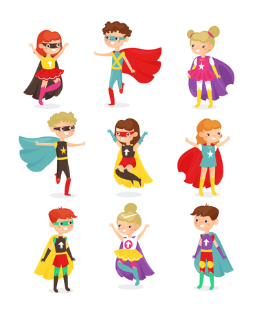 Illustration for Vector illustration of super hero children. Kids in superhero costumes, super powers, kids dressed in masks. Collection of happy smiling kids characters isolated on white background in flat cartoon style. - Royalty Free Image