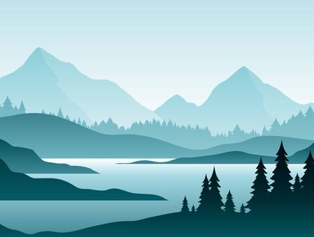 Illustration pour Forest foggy landscape flat vector illustration. Nature scenery with fir trees and hill peaks silhouettes on horizon. Mountain valley and river in early morning scene cartoon background - image libre de droit