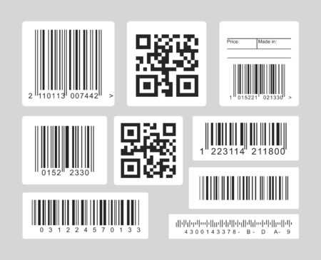 Illustration pour Barcode black and white vector illustrations set. Linear, one and dimensional codes for optical scanners, barcode readers template. Monochrome icons collection isolated on grey background - image libre de droit