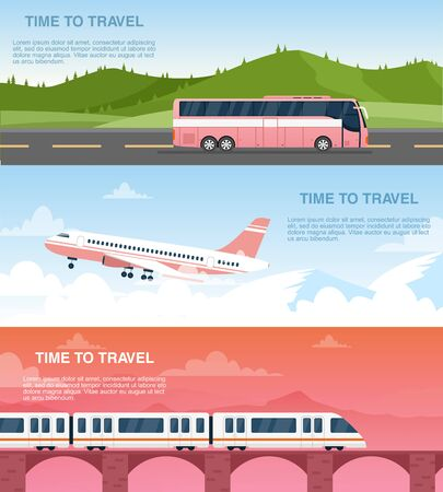 Illustration pour Time to travel web banner vector templates set. Tourist agency advertisement designs pack. Airway, railway and road transportation. Airplane, bus and train cartoon illustrations with text space - image libre de droit