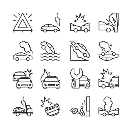 Illustration pour Vector illustration of road accident icon set. Collection of line icons of different types car crash, passenger car, motorcycle and bus, linear design isolated on white background. - image libre de droit