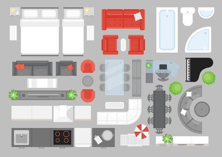 Illustration pour Vector illustration set of furniture top view. Design elements for interior design. Flat interior top view icons collection. Living room, bathroom, bedroom furniture set - image libre de droit