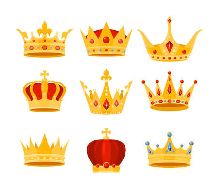 Illustration pour Golden crown vector illustration set. Cartoon flat gold royal medieval collection of luxury monarch crowning jewel headdress for king, emperor or queen, monarchy imperial symbols isolated on white - image libre de droit