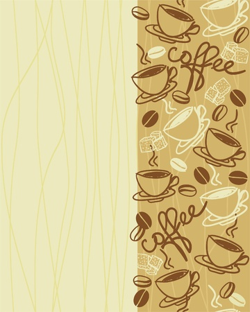 vertical seamless vector pattern with cup of coffee
