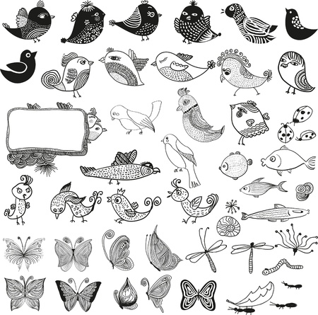 Mixed set of birds fishes insects  doodle vector