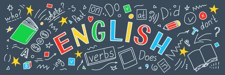 Illustration pour English. Language hand drawn doodles and lettering. Education banner. Vector illustration. - image libre de droit