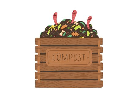 Illustration for Compost box with with funny worms. Recycling concept. - Royalty Free Image