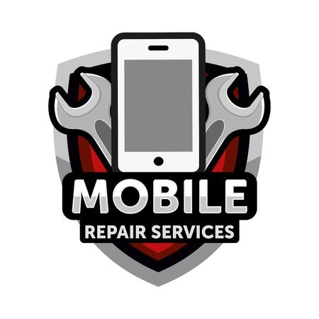 Illustration pour mobile repair services logo - image libre de droit