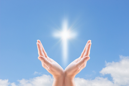 Photo for Bless the cross in the sky. A cross and hands - Royalty Free Image