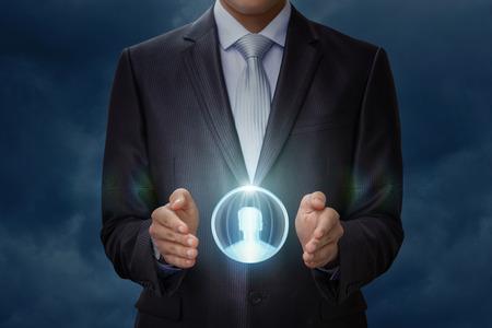 Customer in hand businessman on blue background.