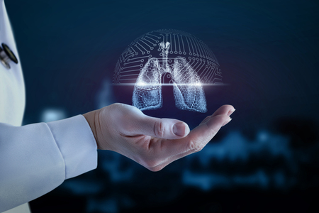 Photo pour Doctor in the hand shows the scanning of the lung of the person. - image libre de droit