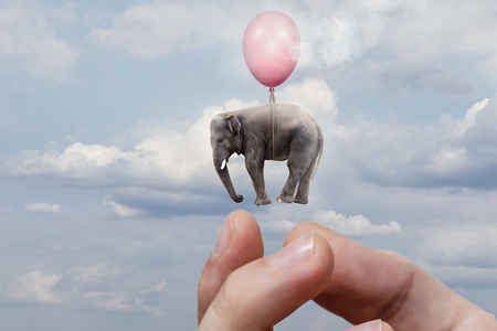 Foto de Arm is launching the elephant into the sky. The concept of handing out free gifts. - Imagen libre de derechos