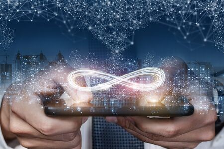 Photo for The concept of unlimited Internet. The infinity sign in the phone on the background of the city. - Royalty Free Image
