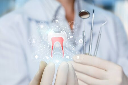 Photo pour The doctor shows the model of a healthy tooth on blurred background. - image libre de droit