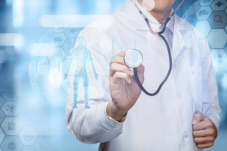 Photo pour The concept of diagnosis and treatment of patients . Doctor and patient on a blue background. - image libre de droit