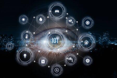 Foto de Eye looking on the structure of internet of things system . - Imagen libre de derechos