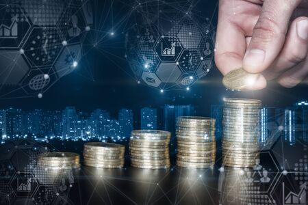 Photo pour The concept of financial growth and business development through savings. - image libre de droit