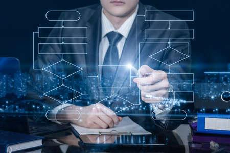 Photo pour Business man shows a structured flowchart on a virtual screen. - image libre de droit