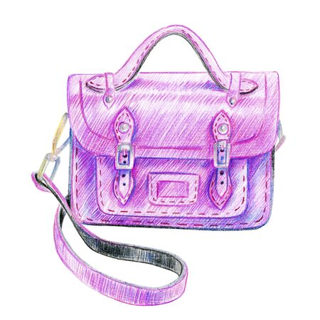Photo for Fashionable pink satchel bag. Pencil sketch. - Royalty Free Image