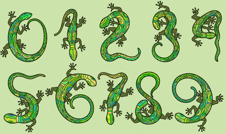 Set of ten vector numbers like lizards.