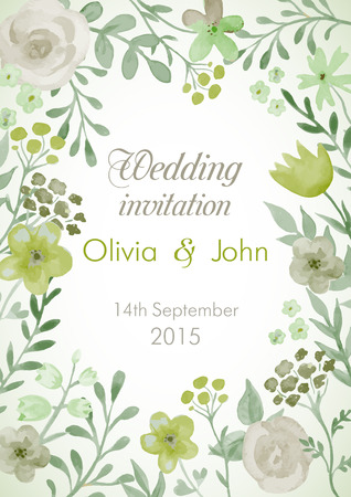 Illustration pour Wedding invitation with flowers and leaves. Watercolor hand painting vector frame. - image libre de droit