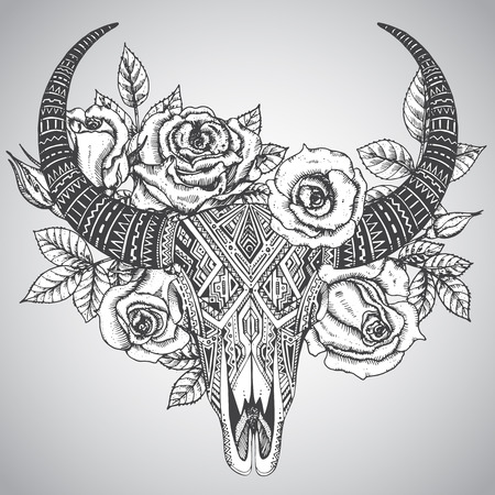 Illustration pour Decorative indian bull skull in tattoo tribal style with flowers roses and leaves. Hand drawn vector illustration - image libre de droit