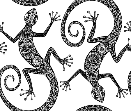 Vector hand drawn seamless pattern with monochrome lizard or salamander with ethnic tribal pattern. Beauty reptile decoration with ornament.