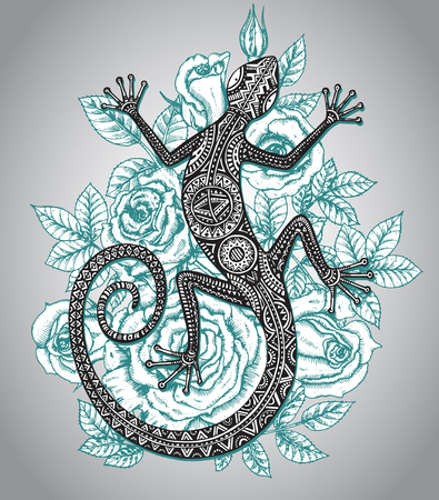 Vector hand drawn lizard or salamander with ethnic tribal pattern and mint roses flowers background