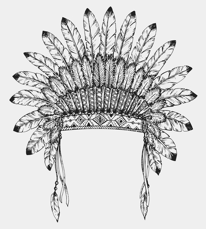 Native American indian headdress with feathers in sketch style. Hand drawn vector illustration.