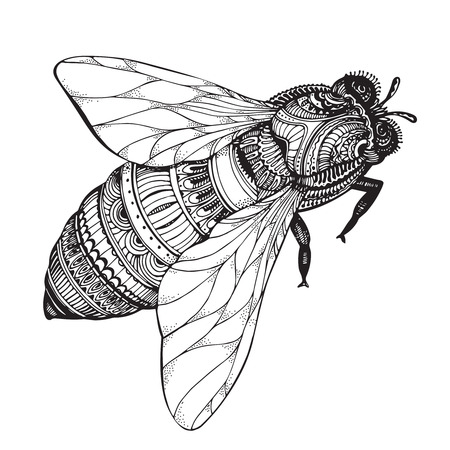 Ilustración de  honey bee in style. Black and white illustration - Imagen libre de derechos
