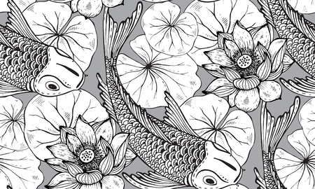 5d3bd1c3cdaa2 Seamless vector pattern with hand drawn Koi fish (Japanese carp), lotus  leaves and