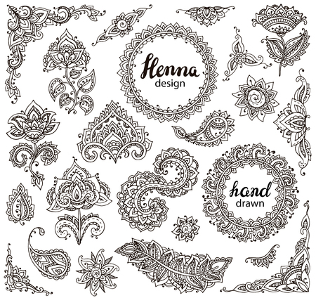 Illustration pour Big vector set of henna floral elements and frames based on traditional Asian ornaments. Paisley Mehndi Tattoo Doodles collection - image libre de droit
