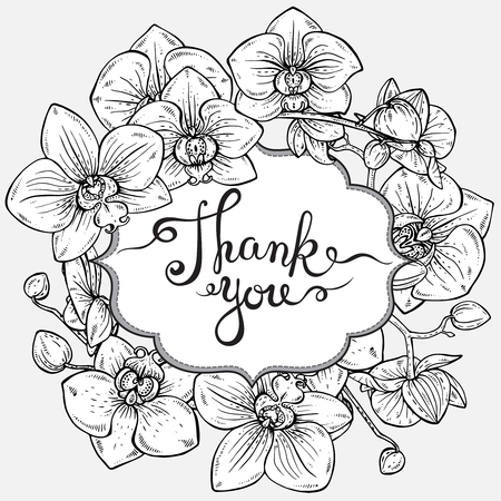 Illustration pour Beautiful vector floral frame and text Thank you with orchid branches with flowers in graphic style - image libre de droit