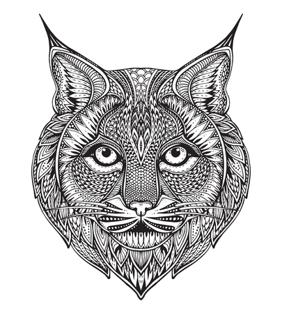 Ilustración de Hand drawn graphic ornate bobcat with ethnic floral doodle pattern.Vector illustration for coloring book, tattoo, print on t-shirt, bag. Isolated on a white background. - Imagen libre de derechos