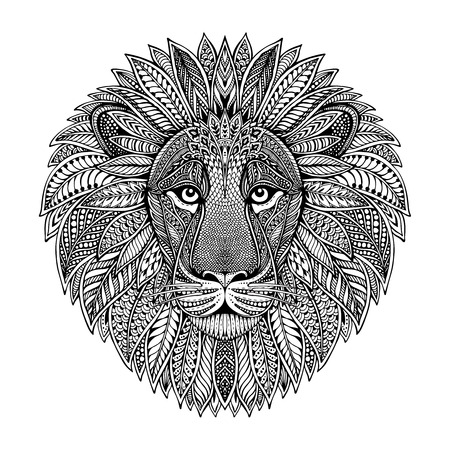 Illustration for Hand drawn graphic ornate head of lion with ethnic floral doodle pattern.Vector illustration for coloring book, tattoo, print on t-shirt, bag. Isolated on a white background. - Royalty Free Image