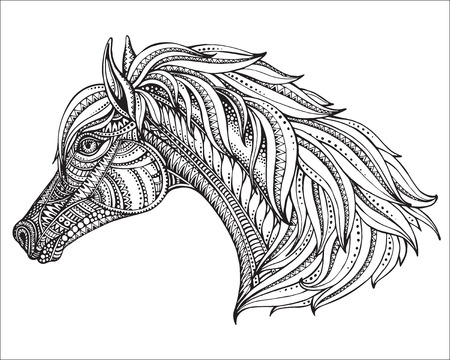 Illustration pour Hand drawn head of horse in graphic ornate style. Black and white vector illustration. It may be used for design of a t-shirt, bag, postcard, a poster and coloring book. - image libre de droit