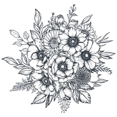 Illustration pour Vector black and white floral composition, bouquet of hand drawn anemone flowers isolated on white background. - image libre de droit